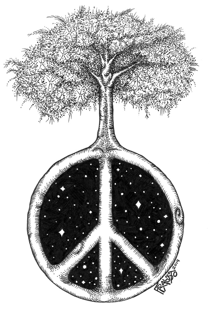 Peace Tree Original Drawing Pen And Ink Illustration By Rick Frausto