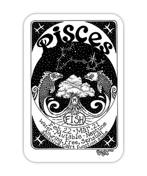 Pisces Zodiac Art Eco Friendly Sticker By Rick Frausto Fine Art