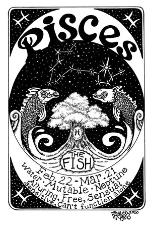 Pisces Zodiac Drawing Original Pen And Ink Illustration By Artist Rick Frausto