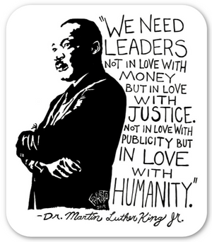 Inspirational MLK Portrait With Quote On Eco Friendly Sticker By Artist Rick Frausto