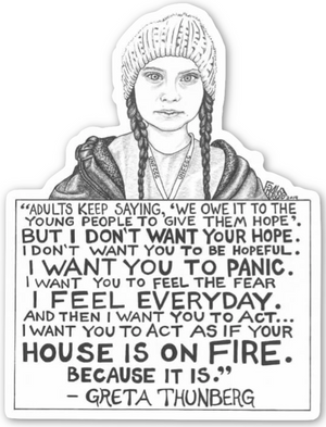 Inspirational Greta Thunberg Artwork With Quote On Eco Friendly Sticker By Artist Rick Frausto