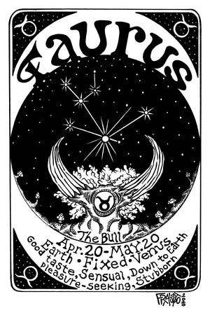 Astrological Art Taurus Zodiac Sign Original Drawing Illustration By Artist Rick Frausto
