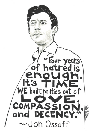 Inspirational Jon Ossoff Portrait With Quote Original Drawing Pen And Ink Illustration By Artist Rick Frausto