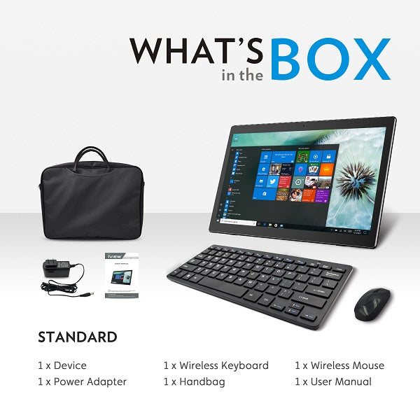 Box includes iView 1760AIO All in One with wireless keyboard and mouse, charger, manual, and carrying case