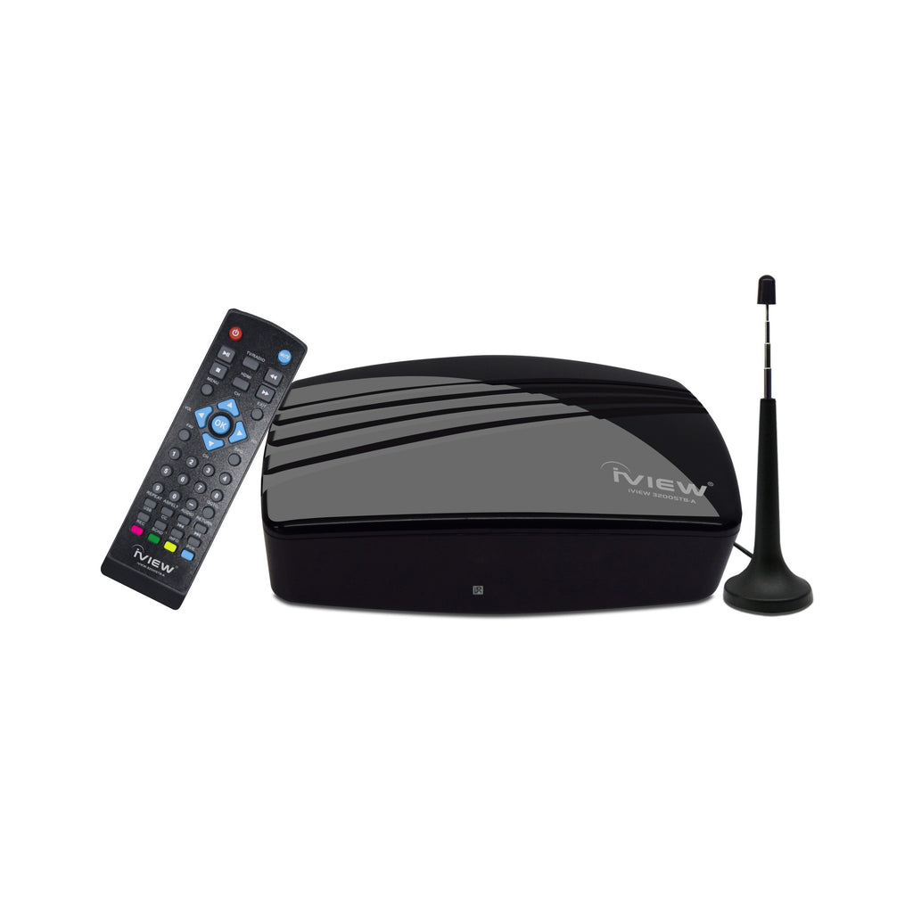3200STB-A black Digital TV Converter Box with Remote and Antenna