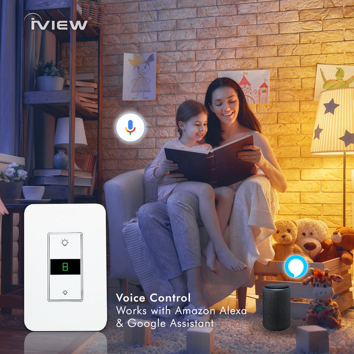 iView ISW600 Smart Dimmer WiFi Light Switch, Single Pole, Neutral Wire Required, Schedule, Timer INC/LED Lights, Compatible with Alexa and Google Assistant, No Hub Required