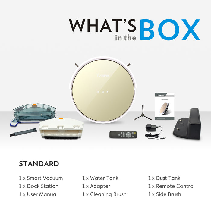 Box includes Smart Vacuum side brush, water tank, dust tank, remote control, dock, manual