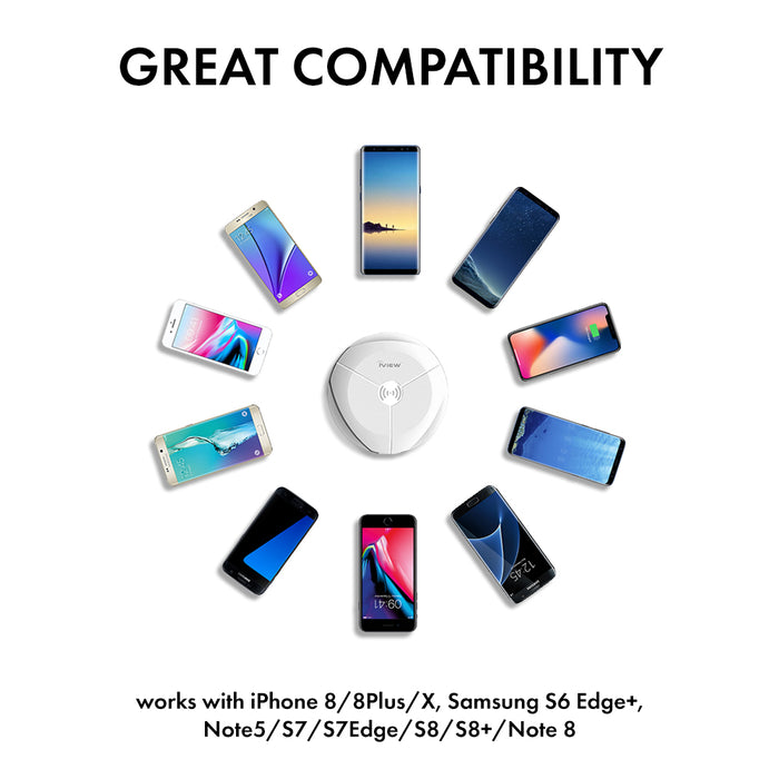 Iview C200 white Smart Wireless Charger compatible with Qi enabled devices