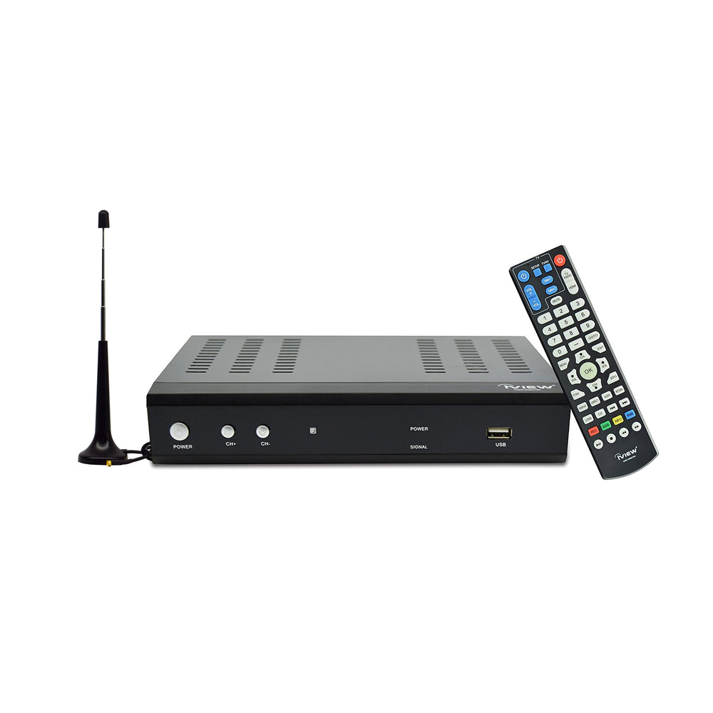 3500STBII-A black Digital Converter Box with learning remote and antenna