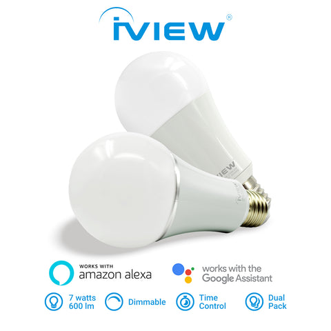 Iview ISB600-2 smart multicolor dimmable Wi-Fi dual-pack light bulb, works with Alexa and Google Assistant, 7W / 600 lumens, with Time Control