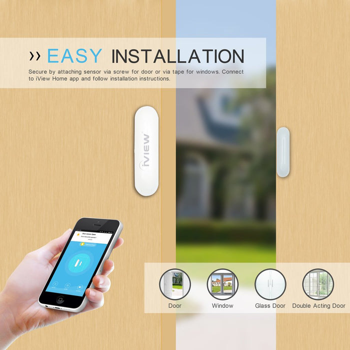 S100 Smart Door and Windows Sensor easy installation using screws for door or tape for windows