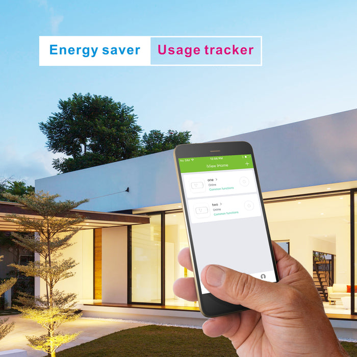 Energy Saver / Usage Tracker - Man using iView iHome app to manage lights in the backyard