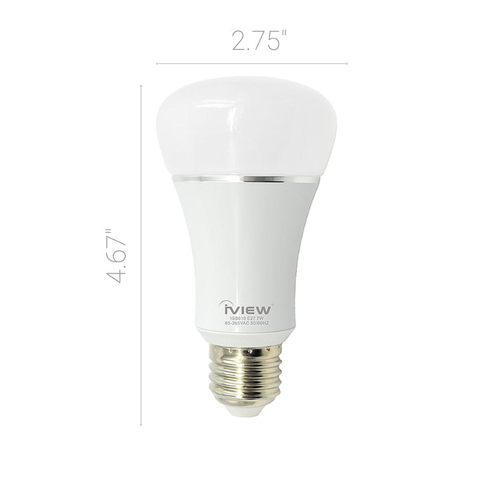 Iview ISB610 smart multicolor dimmable Wi-Fi light bulb dimensions 2.75 x 4.67""
