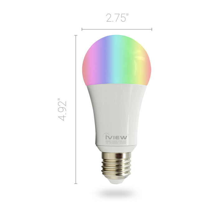 Iview ISB600-2 smart multicolor dimmable Wi-Fi dual-pack light bulb, works with Alexa and Google Assistant, 7W / 600 lumens, with Time Control Dimensions 2.75 X 4.92""