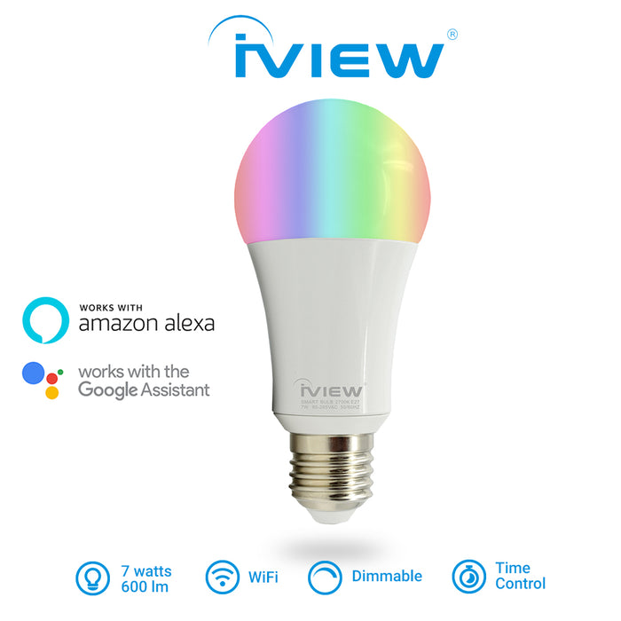 Iview ISB600 smart multicolor dimmable Wi-Fi light bulb, works with Alexa and Google Assistant, 7W / 600 lumens, with Time Control