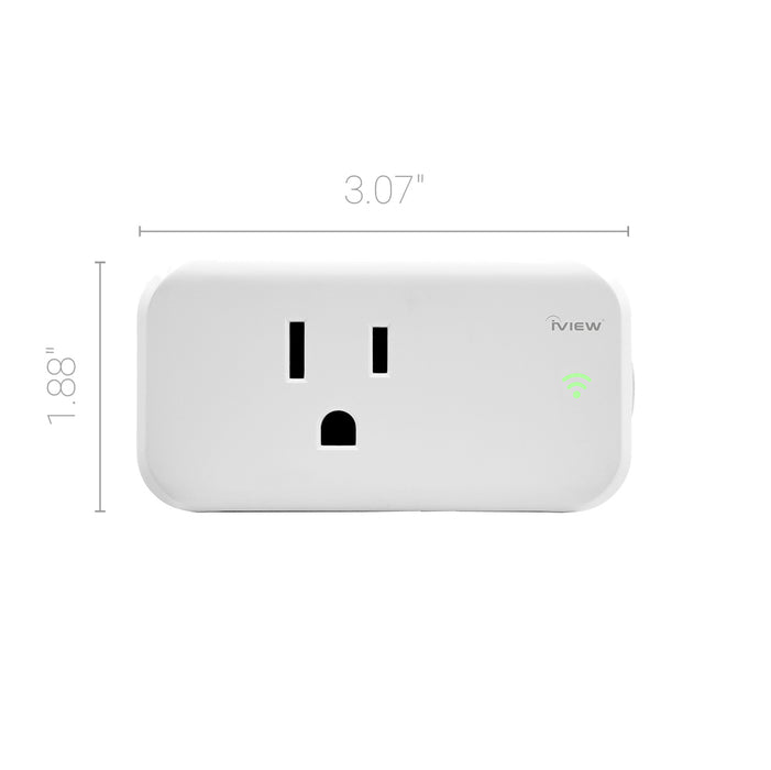 "Iview ISC100 smart Wi-Fi socket dimensions 3.07"" x 1.88"""