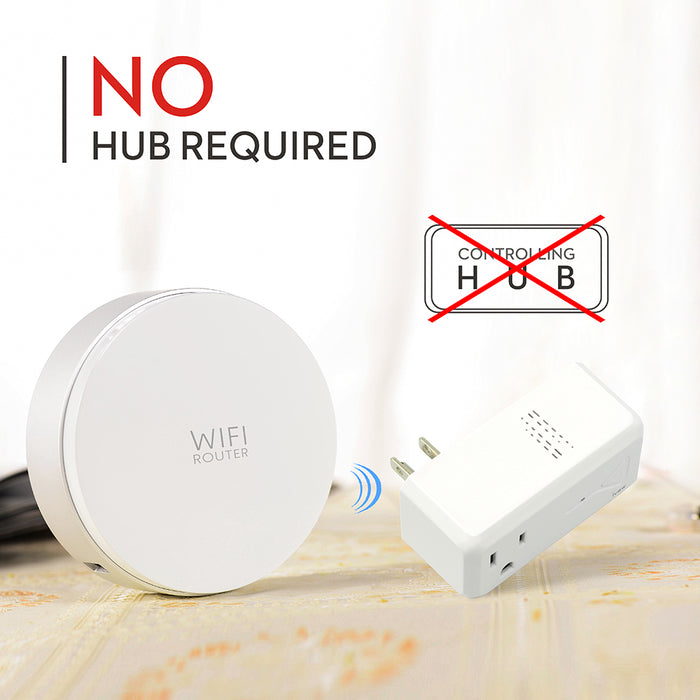 No hub required - Crossed out Wi-Fi hub, not needed to connect smart socket to Wi-Fi