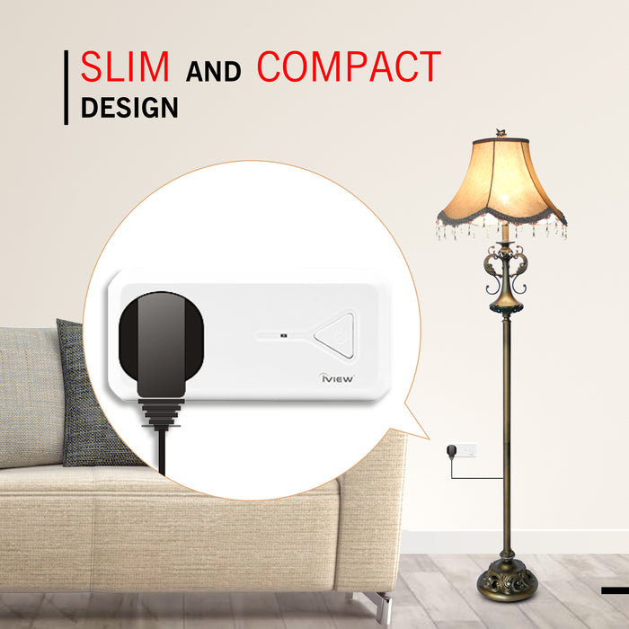 Slim and Compact design - Lamp in living room connected to ISC300 Smart Socket