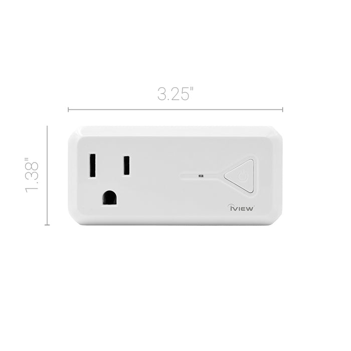 "Iview ISC300 smart Wi-Fi socket with USB Port twin pack dimensions 3.25"" x 1.38"""