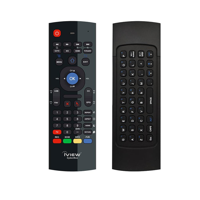 Iview CyberBox Remote front with standard remote functions and back with QWERTY keyboard