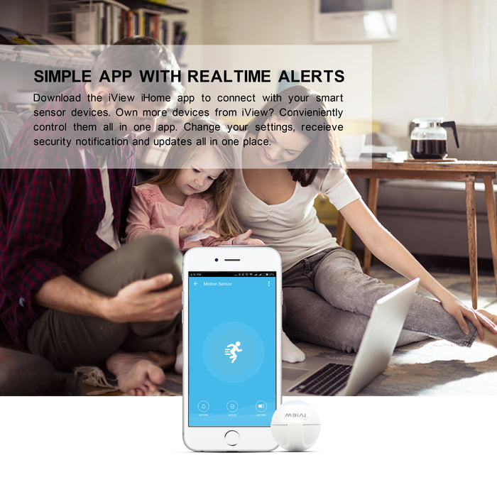 Family sitting down viewing simple iView iHome app with real-time alerts