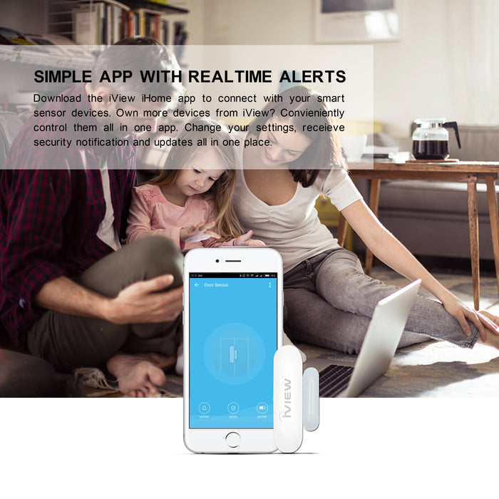 Family sitting together looking at the simple iView iHomeapp with real-time alerts