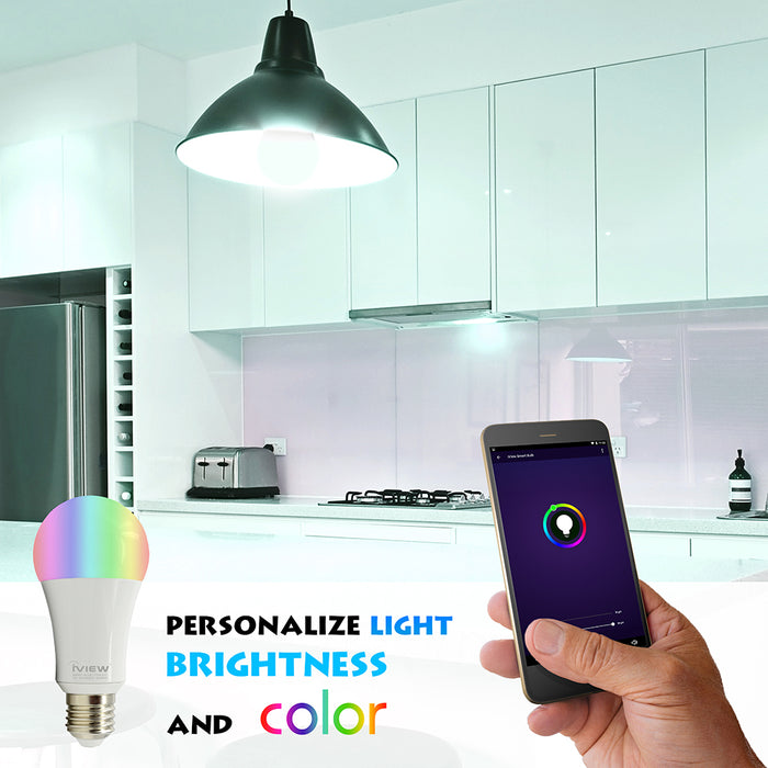 Personalize light brightness and color with Iview ISB600 smart multicolor light bulb
