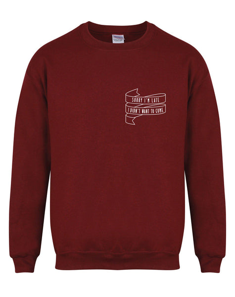 sweater-sorryimlate-maroon-white.jpg