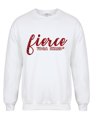 sweater-fierceYogaShred-white-redglitter