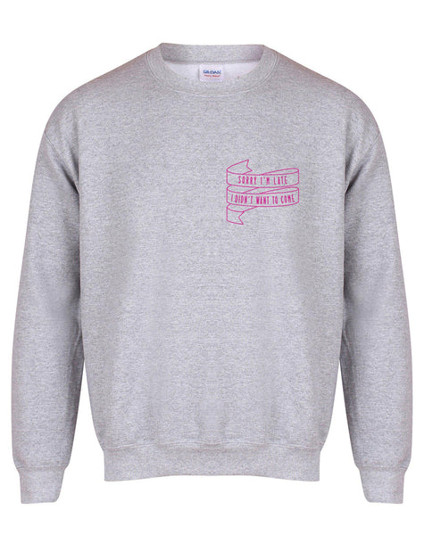 sweater-sorryimlate-grey-fuschia.jpg
