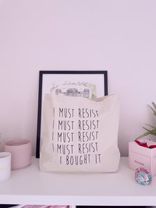 I Must Resist... I Bought It - Large Canvas Tote Bag