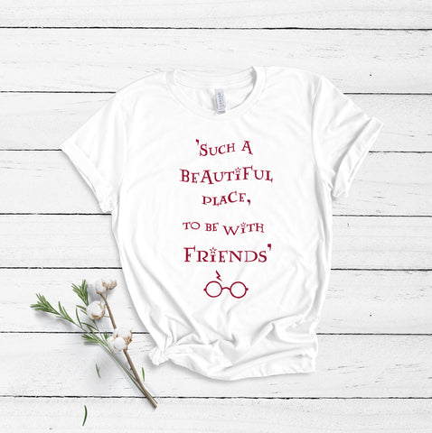 Such A Beautiful Place To Be With Friends - White - Unisex T-Shirt-Leoras Attic-Kelham Print
