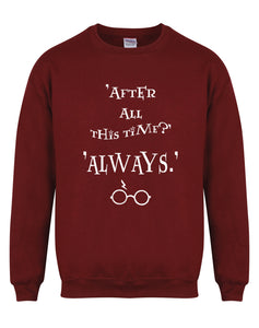 After All This Time, Always - Unisex Fit Sweater - Maroon-Leoras Attic-Kelham Print