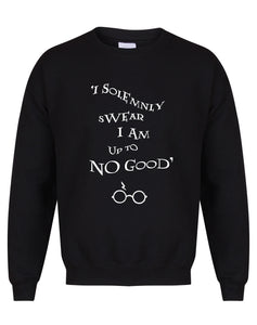 I Solemnly Swear I Am Upto No Good - Unisex Fit Sweater - Black-Leoras Attic-Kelham Print
