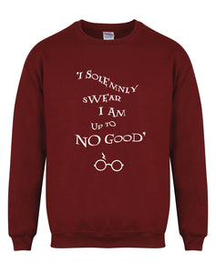 I Solemnly Swear I Am Upto No Good - Unisex Fit Sweater - Maroon-Leoras Attic-Kelham Print