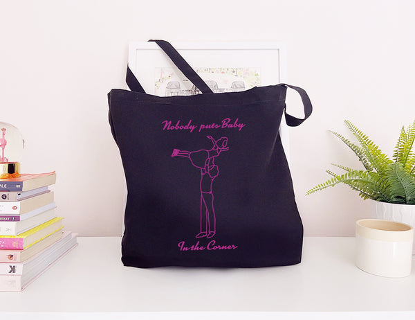 Nobody Puts Baby In The Corner - Large Canvas Tote Bag-Leoras Attic-Kelham Print
