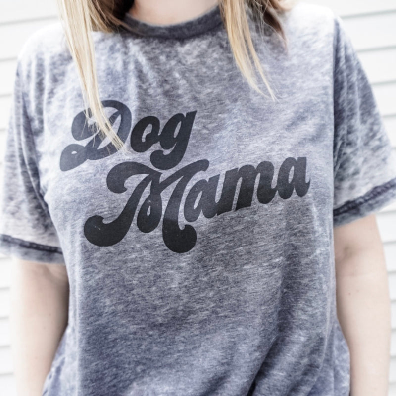 Dog Mama Grey Acid Wash Tee