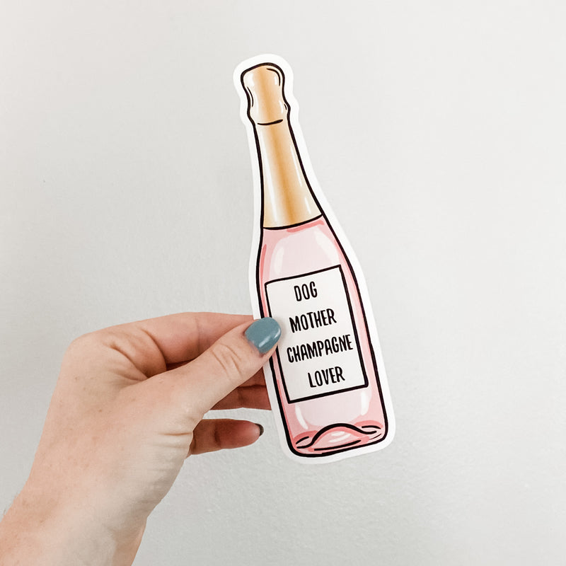 Dog Mother Champagne Lover Sticker