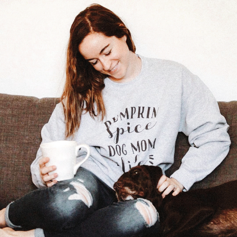 Pumpkin Spice Dog Mom Life Crew Neck Sweatshirt
