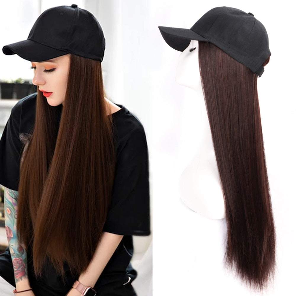 Baseball Cap with Wig Natural Black / Brown Straight Wigs