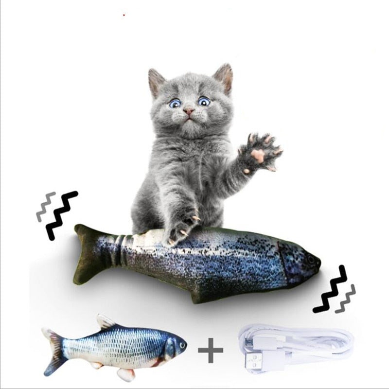 Cat Kicker Fish Toy 30CM Pet Cat Toy Electric USB Charging