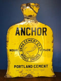 ANCHOR PORTLAND CEMENT | VINTAGE INDIAN ENAMEL SIGN Okha Cement Co. Ltd. Works Dwarka; Indian-made Portland Ceme