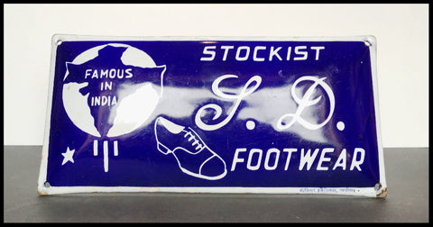 STOCKIST I.D. FOOTWEAR | VINTAGE INDIAN ENAMEL SIGN
