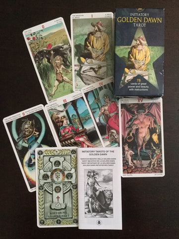 6Witch3 Initiatory Golden Dawn Tarot - deck, booklet, card back, and card array