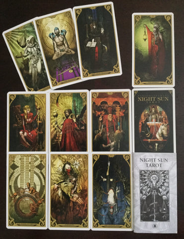 6Witch3 Night Sun Tarot - booklet and card array