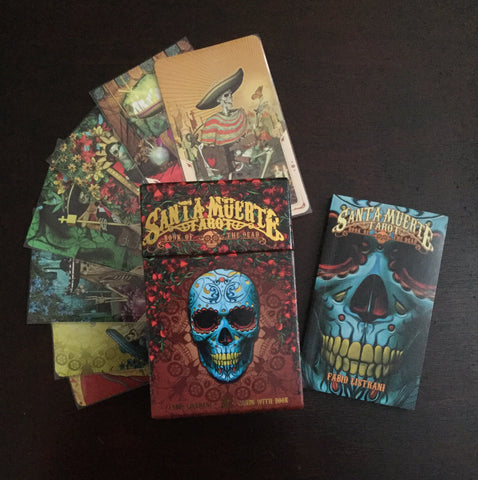 6Witch3 Santa Muerte Tarot Deck - Box, booklet, and sample cards