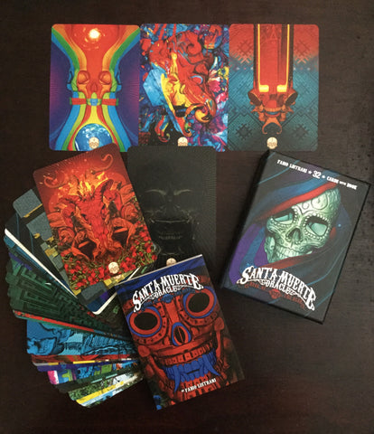 6Witch3 Santa Muerte Oracle Deck - box, booklet, sample card array
