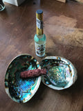 6Witch3 pair of abalone shells with bottle of Florida water and sage herb bundle for size