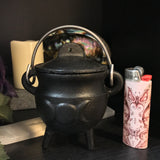 Mini Cauldron - Triple Moon - Cast Iron - Painted