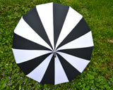 black and white striped parasol